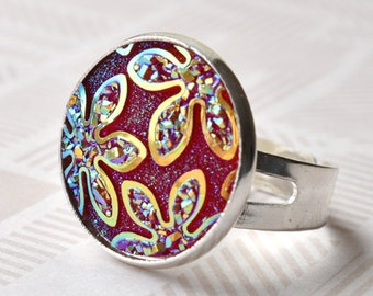 Red Floral Ring, Adjustable Ring, Flower Jewellery, Red and Silver, Colour Change Ring, UK Jewellery