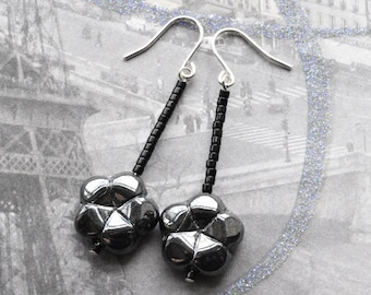 Black Earrings - Flower Earrings - Sterling Silver - Gift for Her - Dangle Earrings
