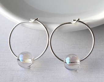 Silver Hoop Earrings - Sterling Silver - Gift for Her - Rainbow Quartz - Gemstone Earrings - Christmas Gift
