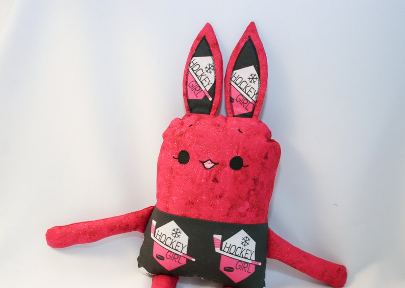 ready to ship Pink Hockey Girl Bunny Rabbit Stuffed Animal Toy