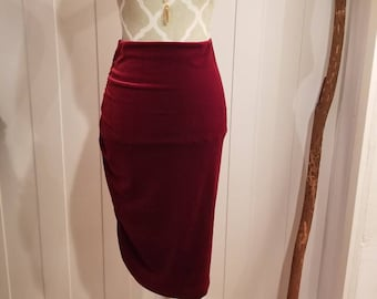 9faf7225a RED Velvet side rusched MIDI pencil skirt | Size S/6 or XL/12
