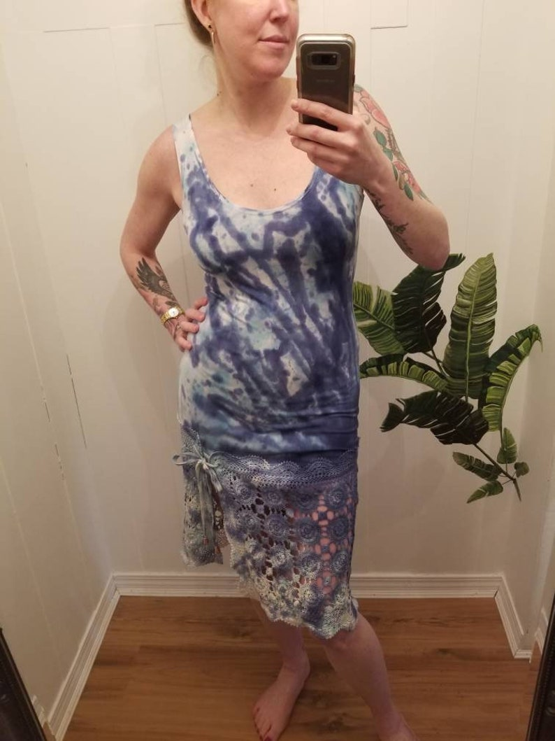 Summer Dress Organic Clothing One of a kind Size S Starburst Dress in BlueTeal Organic Bamboo Tie Dye Loungewear Vintage Lace