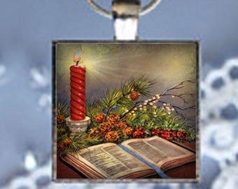 Pendant Necklace Christmas Scene