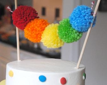 Rainbow Yarn Pom Pom Cake Topper   pom poms   handmade pom poms   Party Decor   Banners   Buntings   Photo Props   Cake Topper