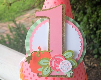 Floral Market Pumpkin Party Hat   Birthday Hat   Fall Party   Girl Birthday   First Birthday   Harvest Party   Halloween Party   Mint Coral