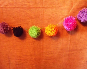 Hot Pink, Lime Green, Orange, Black and Purple Halloween Yarn Pom Pom Garland   Funky Colors   Banner   Bunting   Photo Prop   Neon   Bright