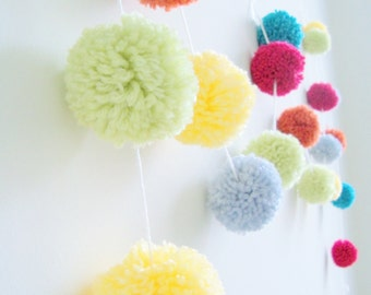 Celebrate & Party   Yarn Pom Pom Garland   Party Decor   Banners   Buntings   Photo Props   Cherry Red   Pumpkin   Key Lime   Butter Yellow