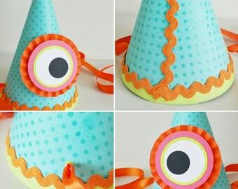 Little Monster Party Hat   First Birthday   Monster Birthday   Monster Birthday Hat   Monster Birthday Party   Girl Birthday   Boy Birthday
