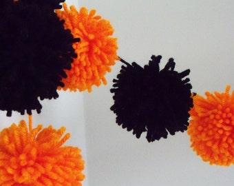Orange and Black Pompom Garland   Halloween Pompom Bunting   Pompom Garland   Pompom Decoration   Halloween Decor   Mantle Garland