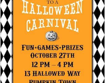 Halloween Carnival Printable Party   Invitation   Vintage Halloween   Halloween Party   Halloween Festival   Halloween Party Printable