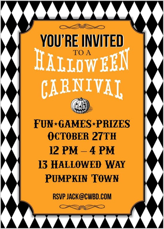 halloween carnival printable party invitation vintage halloween