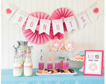 Donuts Valentine Printable Party Banner   Donuts Birthday Banner   Love Donuts Party Printable   Donut Party   Kids Valentine Printables