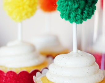 Rainbow Yarn Pom Pom Cupcake Toppers   Cupcake Toppers   St. Patrick's Day   Cake Topper   Rainbow Party   Paint Party   Knitting Party   Up