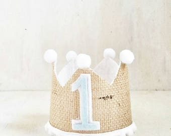 Burlap Crown   Prince Party   King Party Hat   1st Birthday  Baby Blue   Little Prince Birthday   First Birthday Crown   Boy Birthday