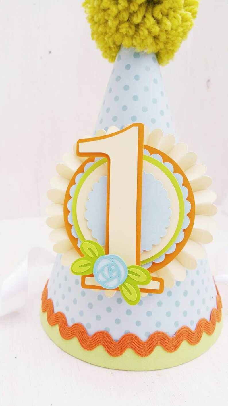 First Birthday Orange Rose Bright Green Party Hat Flowers Spring Floral Light Blue Birthday Party Yellow Garden Party