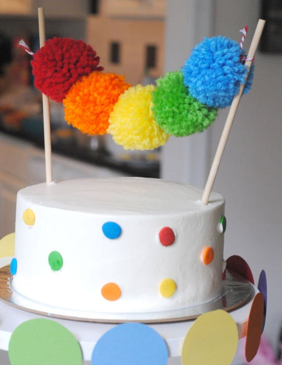 Rainbow Yarn Pom Cake Topper