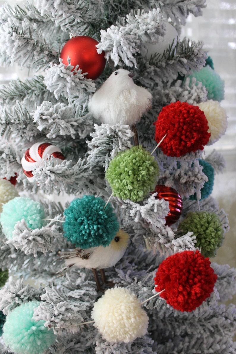 Christmas Mantel Garland Christmas Tree Garland Teal Mint White Red And Sage Pompoms Decor Christmas Buntings Christmas Ornament