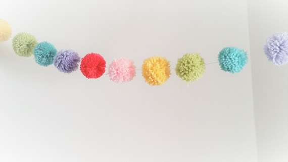 Circus Orange Rainbow Bunting Yarn Pompom| Bright and Cheery Banner Yellow Blue Carnival Party Pom Pom Garland Lime Red