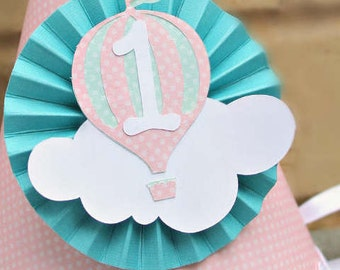 Baby Blue and Grey Hot Air Balloon Party Hat   Up Up and Away   Clouds   Birthday Party hats   First Birthday   Flying High Party   Boy
