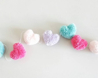 Pink, Hot Pink, Lavender, and Aqua Heart Yarn Pom Pom Garland   Heart Pompom Bunting   Heart Bunting   Photo Props   Valentine's Day Garland
