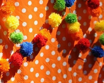 Pom Pom Garland   Yarn Pompom  Bright and Cheery Banner   Rainbow Bunting   Red   Orange   Yellow   Lime   Blue   Carnival Party   Circus