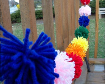 Bright Colors Yarn PomPom Garland   Party Decor   Bubblegum   Rainbow Party   Candy Party   Banners   Buntings   Nursery Decor   Classroom
