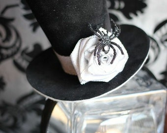 Black Velvet Spider Mini Top Hat, Halloween Costume, Mini Top Hat, Silver Grey Black Party Hat