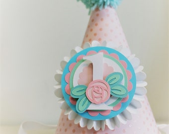 Pink and Mint Little Rose Party Hat   First Birthday  Rose Party   Garden Party  Flower Party   Pink and Mint Party Hat   Pink Rose