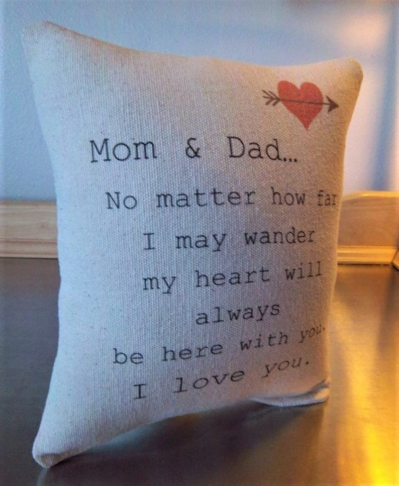 Parents Gift Quote Throw Pillow Mom And Dad Cushion Mother Etsy