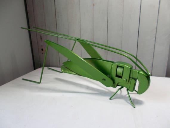 Recycled Garden Art Metal Grasshopper Junk Art Yard Art Etsy