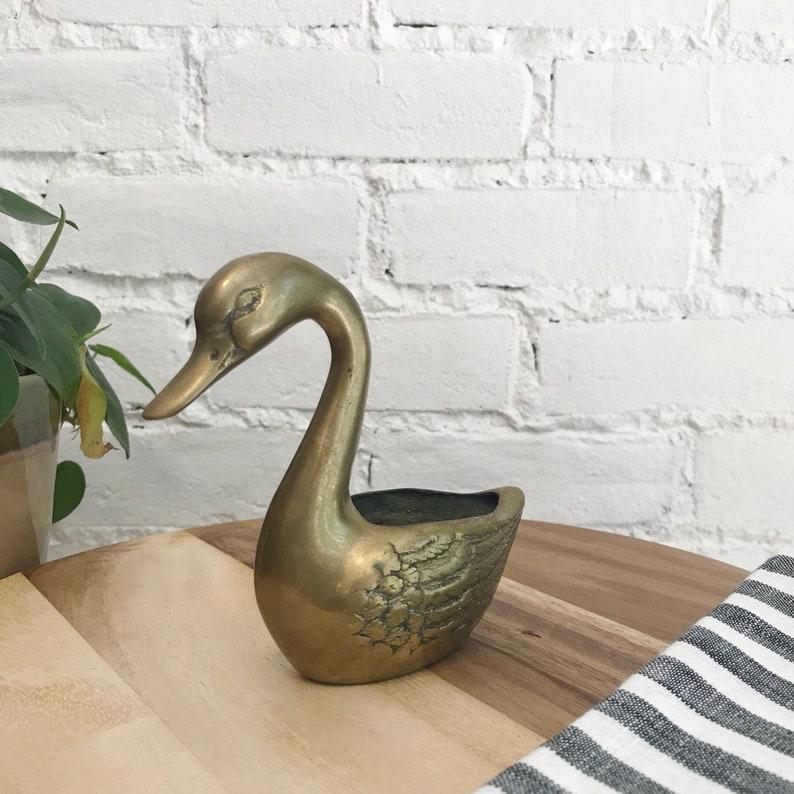 Vintage Brass Swan Planter  Midcentury Indoor Planter  Brass Swan Decoration