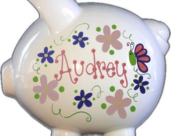 Personalized Piggy Bank with Flowers and Butterflies Pastel Design | White | Pink | Large | Baby Gift | Girl |