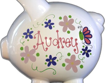 Personalized Piggy Bank with Flowers and Butterflies Pastel Design | White | Pink and Purple | Large | Baby Gift |