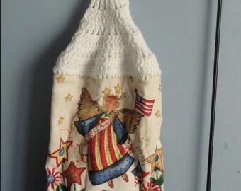 4th of July Angel crocheted singel kitchen dish towel