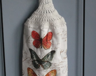 Butterflies, crocheted kitchen dish towel either single or double towel.