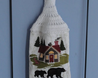 Brown Bear crocheted double or single kitchen dish towel