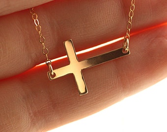 524667a1ac1b Gold Sideways Cross Necklace