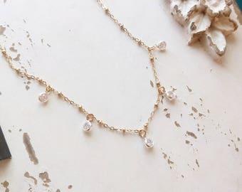 Tiny 14K Gold Filled CZ Diamond Station Necklace \u2022 Dainty Dangle Cubic Zirconia Necklace CZ Choker \u2022 Layering Necklace Bridesmaid Necklace
