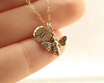 Tiny Honey Bee Necklace, Gold Initial Charm Necklace, Personalized Necklace, Initial Charm, Dainty Necklace, Gift for Her, Mother's Necklace