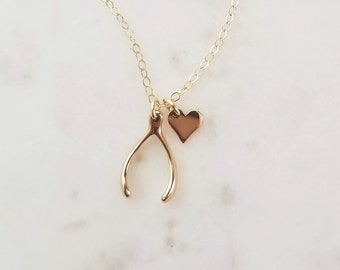 Luck and Love Necklace, Gold Wishbone Necklace, Graduation Gift for Her, Good Luck Charm, Dainty Heart Necklace, Sterling Silver Wishbone