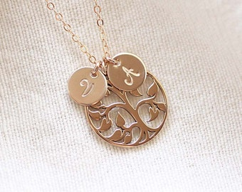 Family Tree Necklace, Gold Tree of Life Necklace, Personalized Mother's Necklace, Initial Necklace, Grandmom's Necklace, Sterling Silver