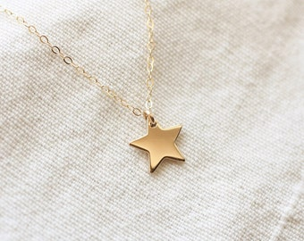 Shining Star Necklace, Gold Star Necklace, Dainty Star Charm, Charm Necklace, Dainty Necklace, Gold Filled, Layering Necklace