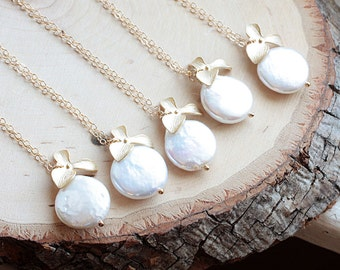 Bridesmaids Gift Set of SIX, 6 Gold Coin Pearl Necklaces - Freshwater Pearl, Orchid Flower, Beach Wedding, Gold Fill Bridal Party Necklace