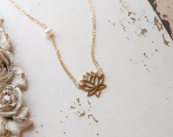 Lotus Necklace, Gold Lotus Flower Necklace, Lotus and Freshwater Pearl Necklace, Lotus Jewelry, Yoga Jewelry, Sterling Silver, Rose Gold