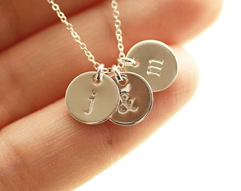 Sterling Silver Initial Disc Necklace, Personalized Jewelry for Mom, Gift for Her, Dainty Initial Charm Necklace, Mother's Necklace