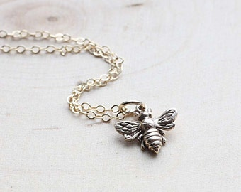 Tiny Gold Honey Bee Necklace, Gold Filled Necklace - Sweet Bronze Honeybee Charm - Minimal Everyday Simple Layering Necklace, Bumble Bee
