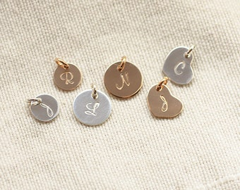 ADD ON - Personalized Hand Stamped Initial Charm, Add On to Any Necklace or Bracelet -  Sterling Silver, Gold Filled