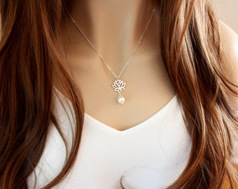 Lotus Flower Necklace, Lotus and Pearl Necklace, Freshwater Pearl Necklace, Lotus Jewelry, Yoga Inspired Jewelry, Dainty Lotus Necklace