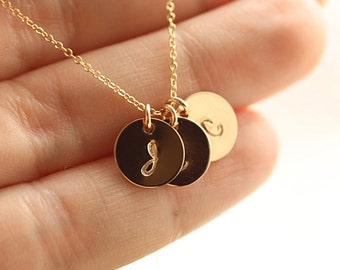 Dainty Gold Initial Necklace, Gold Personalized Necklace, Mother's Necklace, Gold Filled, Dainty Necklace, Gift for Her, Gold Disc Necklace