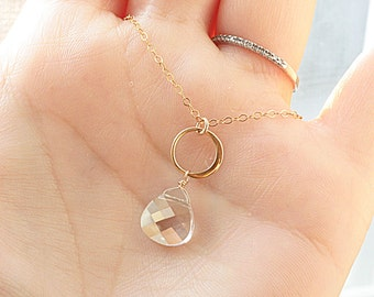 Eternity Necklace, Gold Crystal Necklace, Bridesmaids Necklace, Mother of Bride, Groom - Swarovski Crystal - Gold Filled - Bridal Necklace